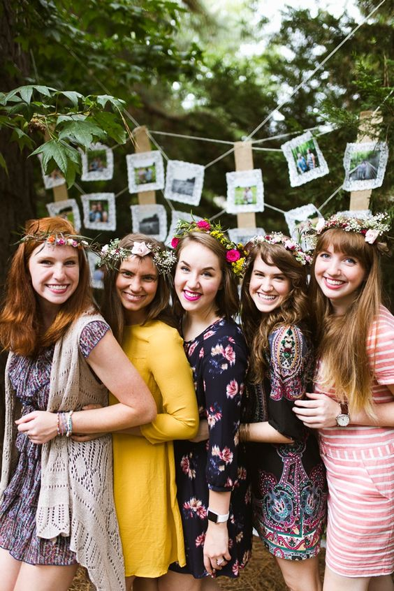 short colorful dresses, flower crowns and a macrame vest