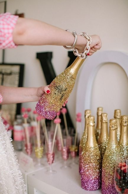 the champagne bottles can be ombre glittered for fun