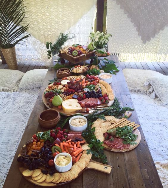 fruit and cheese platters for a rustic boho bridal shower