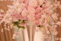 30 lush cherry blossom and roses centerpiece in a glass vase