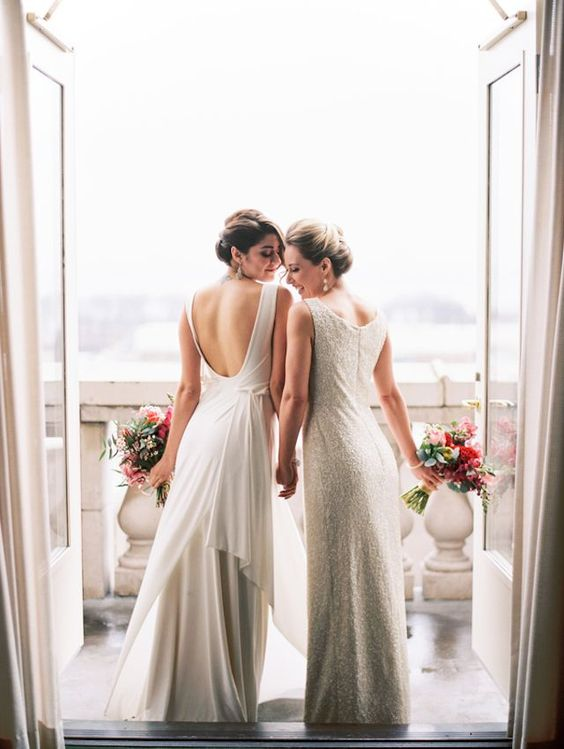 modern wedding dresses, one sparkling, and the second with an open back