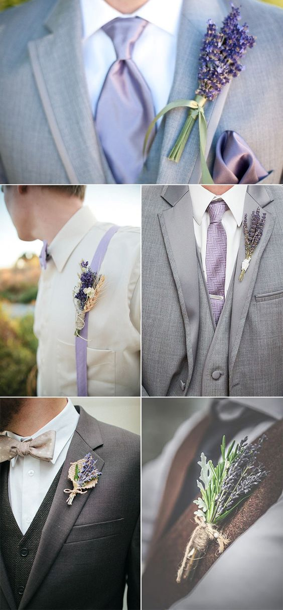 lavender is perfect for boutonnieres, mix it wwith spikes or just some white flowers
