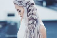 31 loose side swept hair with a braid in trendy silver grey color