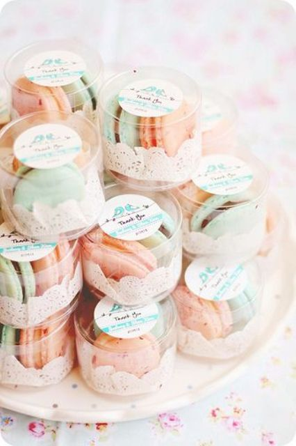 Picture Of Peach And Mint Macarons Will Be Cool Wedding Favors