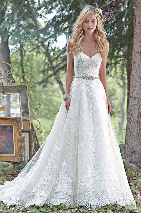 romantic lace strapless dress with an embellished sash