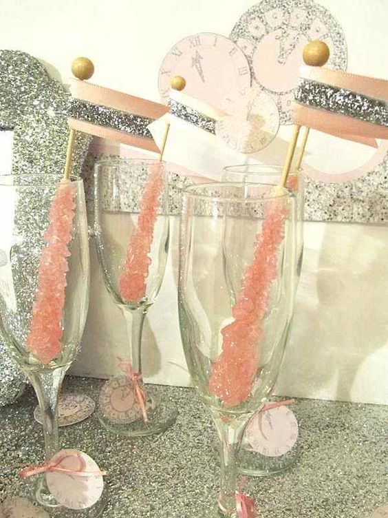 sparkly rock candy drink stirrers with silver toppers