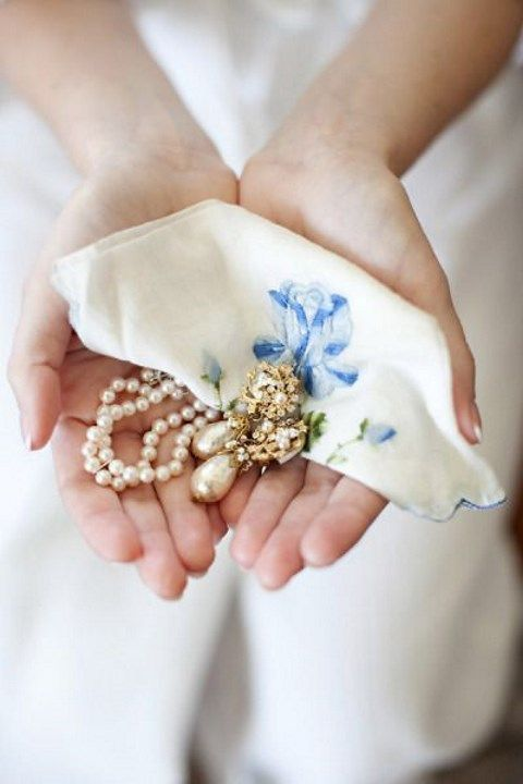a grandmother's necklace into earrings for the bride
