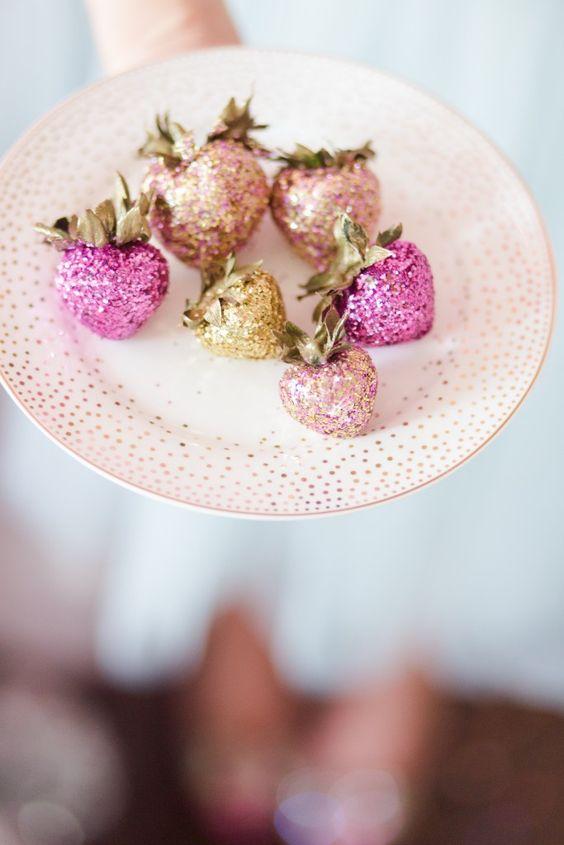 glitter covered strawberries