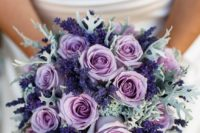 32 lavender, purple roses and pale greens look delicate together