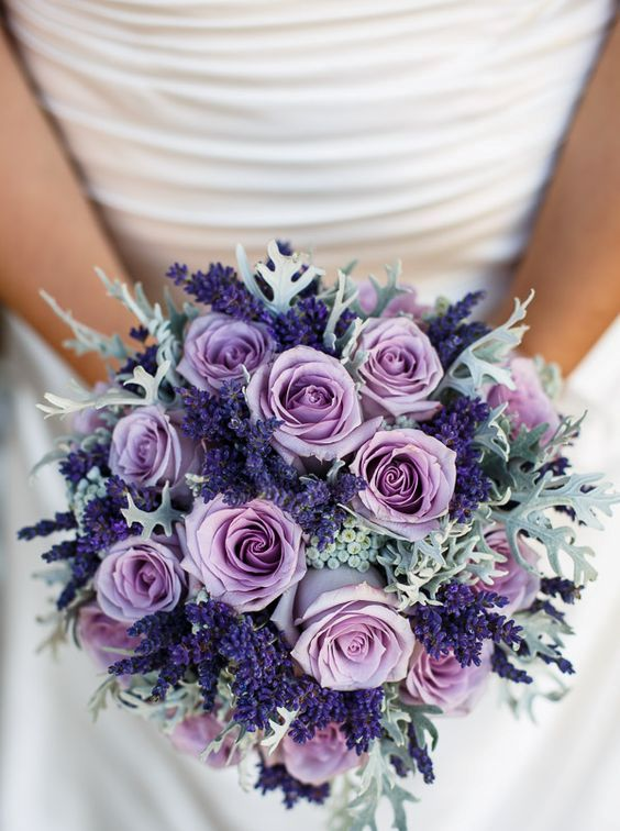 lavender, purple roses and pale greens look delicate together