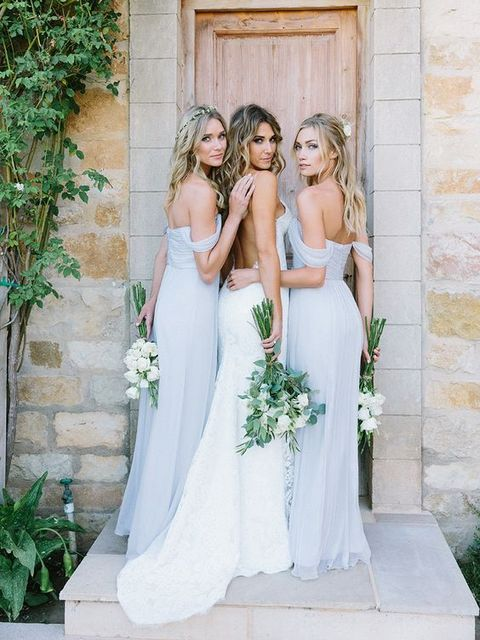 off the shoulder serenity dresses for the bridesmaids and a backless dress for the bride