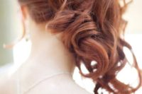32 side swept curly ponytail