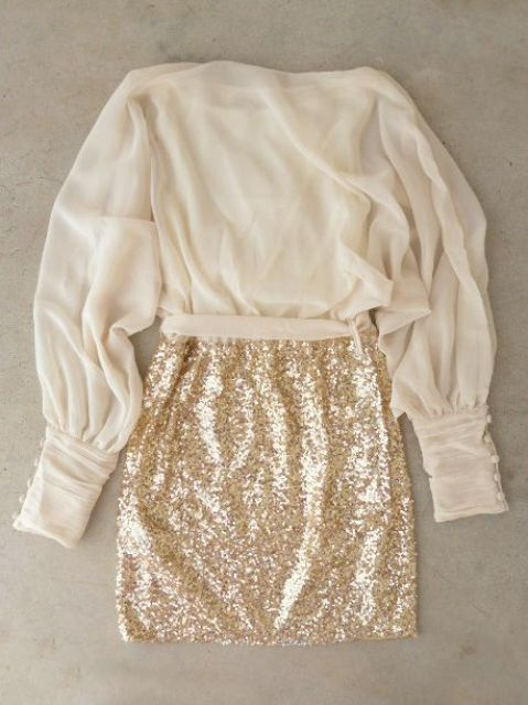 a gold sequin mini and an ivory chiffon shirt