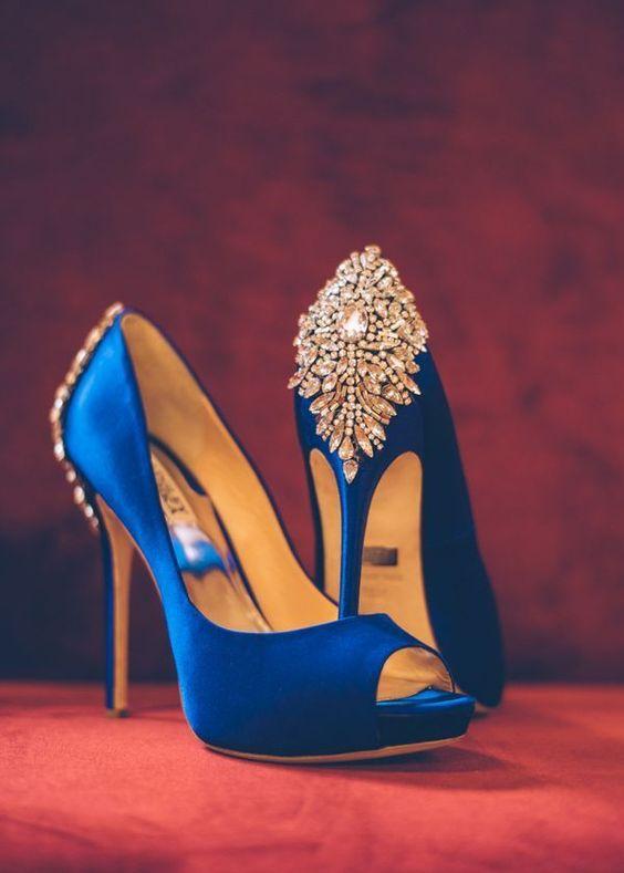 bejeweled royal blue wedding shoes