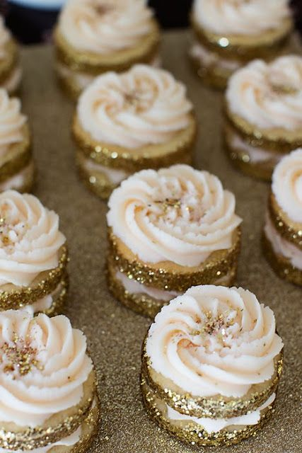 gold glitter cookies with buttercream frosting