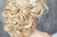 33 heavenly half up half down curls with a sparkling headpiece