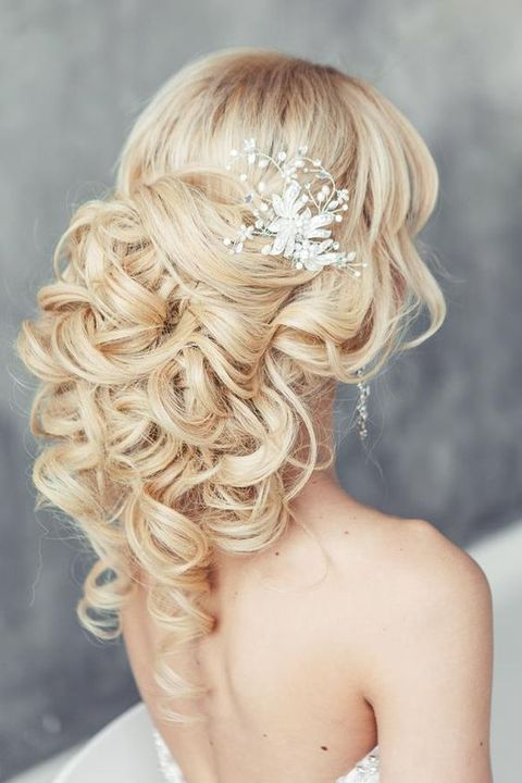 heavenly half up half down curls with a sparkling headpiece