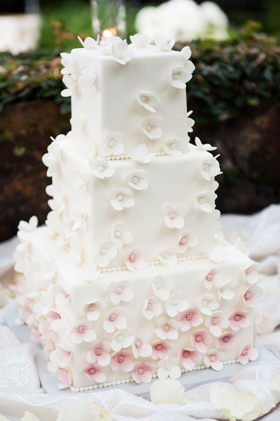 an ombre square cherry blossom wedding cake