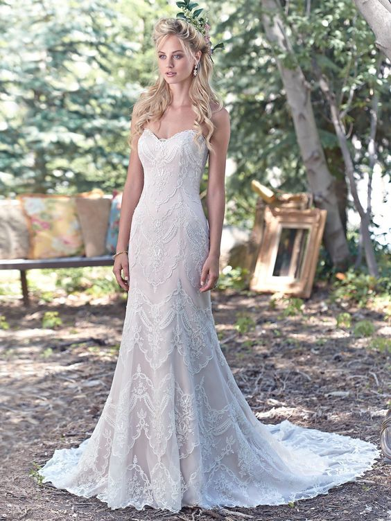 breathtaking bohemian sheath wedding dress, with a timeless, romantic sweetheart neckline