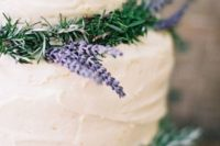 34 frosted wedding cake with rosemary and lavender