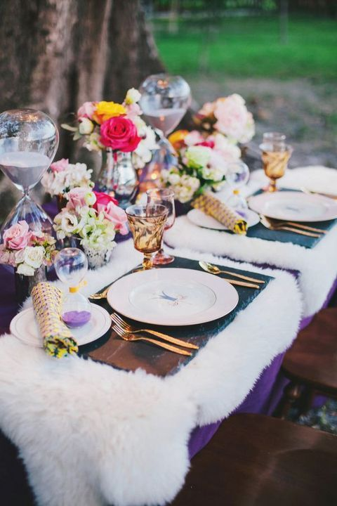 marble placemats and fur tablecloth for a whimsy winter table