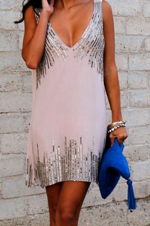 blush plunging neckline dress with silver sequins