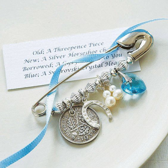 hang something old, new, blue and borrowed on a safety pin