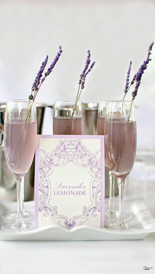 lavender lemonade with lavender drink stirrers