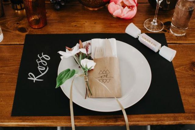 modern place setting with a chalkboard placemat