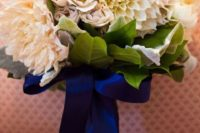 35 navy ribbon wrap and bow with blue dahlias