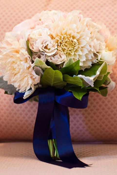 navy ribbon wrap and bow with blue dahlias