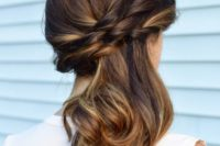 35 woven side swept ponytail with curly tips
