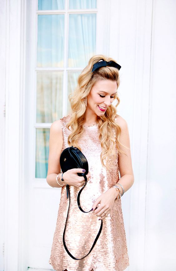 a rose gold sequin dress is a girlish and cute idea