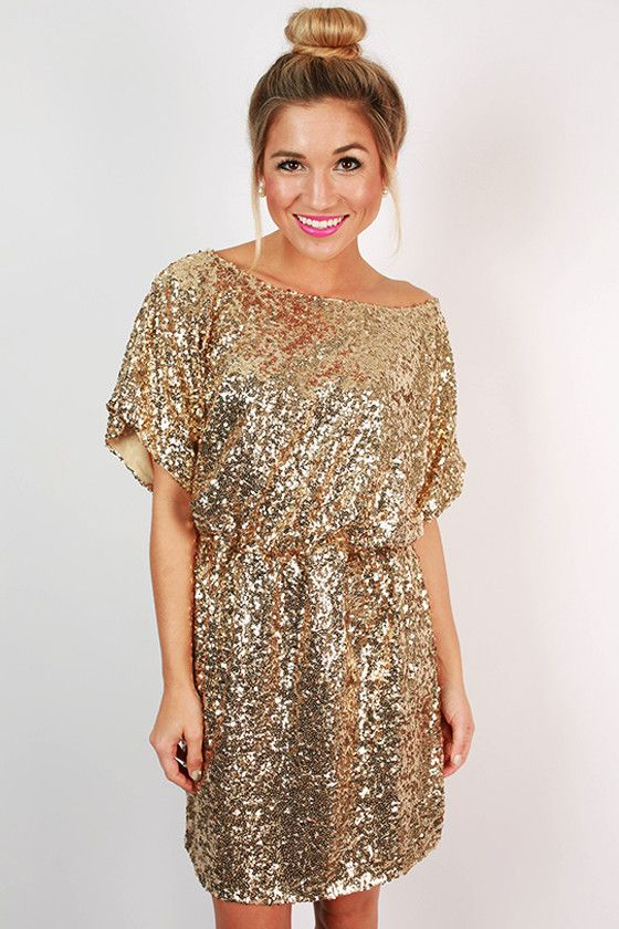gold sequin dress with a bateau neckline