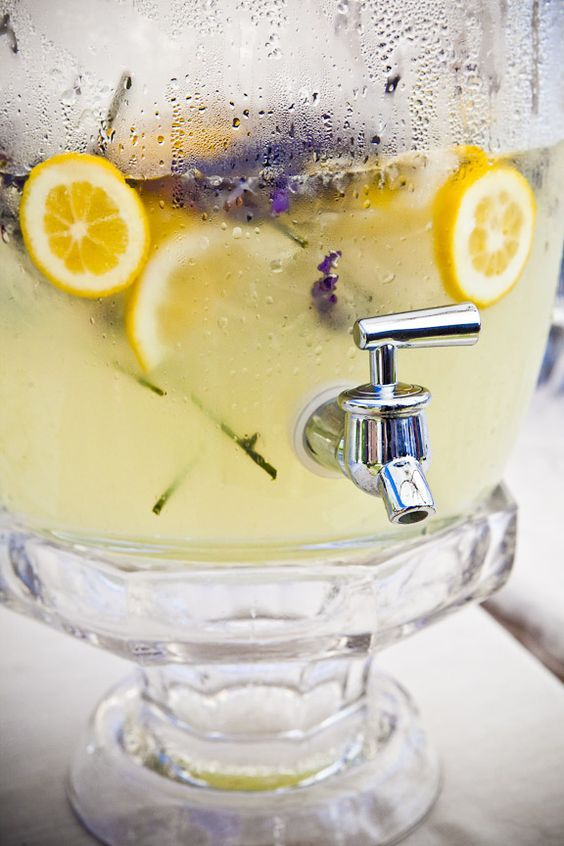 lavender lemonade with lavender drink stirrers