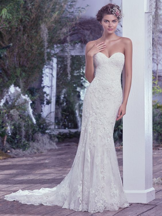 tulle and lace sheath wedding dress, with hand-placed lace appliqués