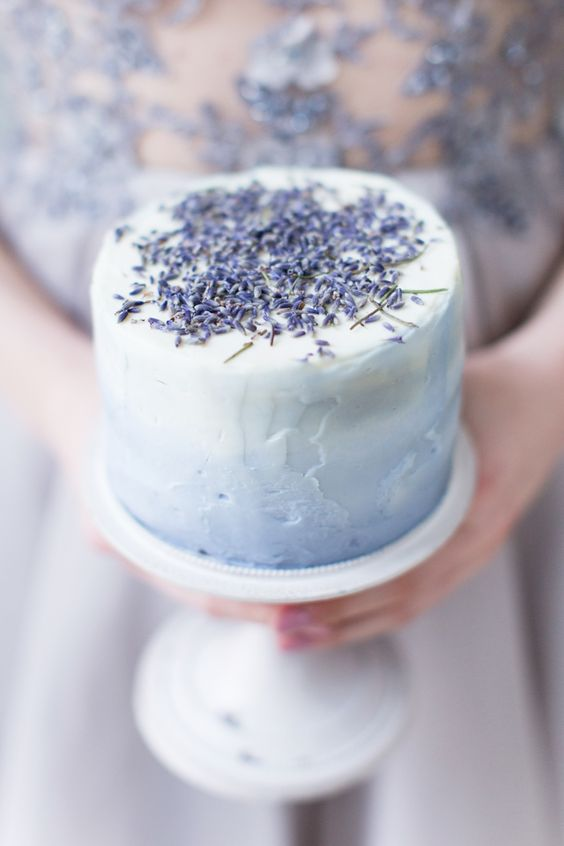 mini lavender cake with ombre frosting