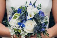 39 blue gentiana, blue delphinium and blue eryngium for the bouquet