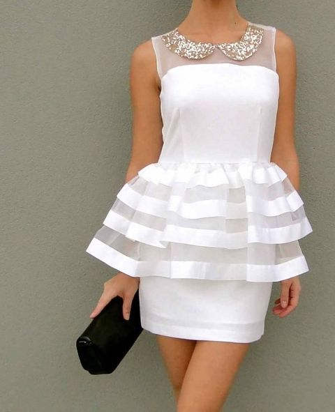 white peplum dress with sequin touches