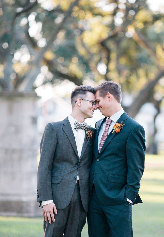 grooms dressed differently to show off the personalities