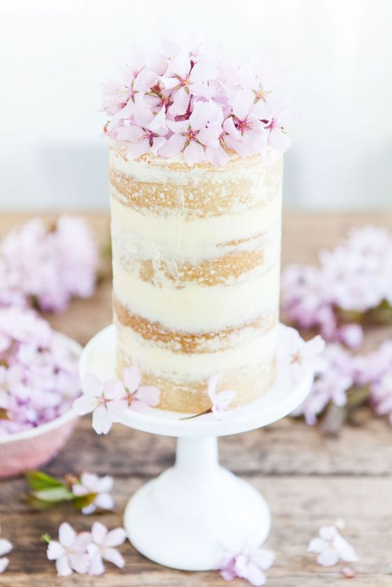 meringue buttercream, lemon curd and cherry blossom cake