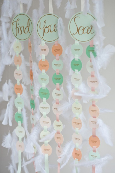 mint, ivory and peach hanging seating chart