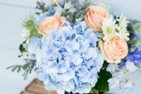 40 peach and light blue hydrangeas wedding bouquet
