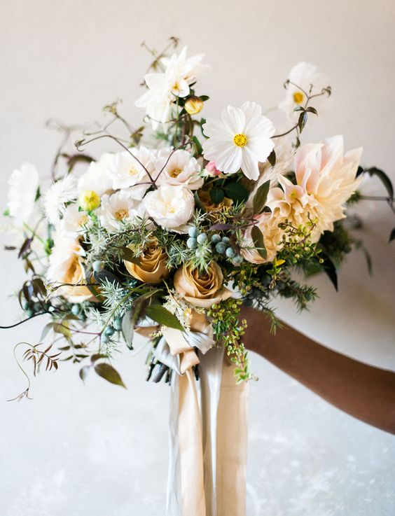 textural whimsical bouquet for the bride