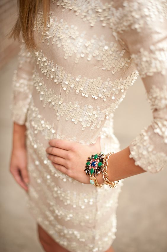 white sequin mini dress for the bride