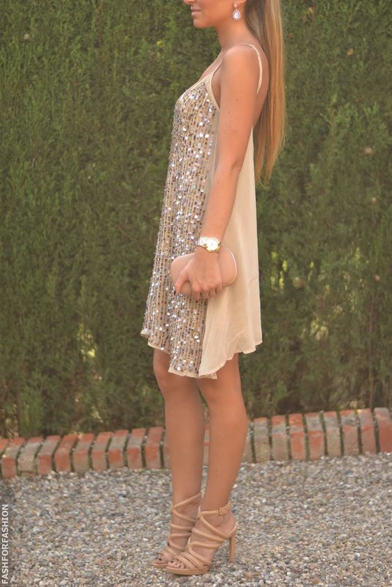 gold and nude sparkly loose fitting sleeveless dress