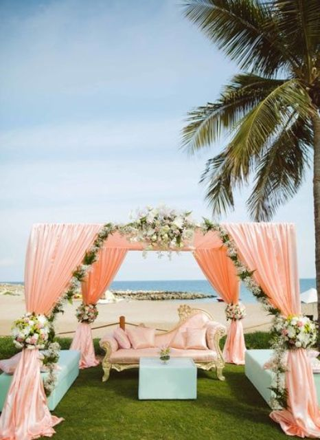 peach and green reception decorated with ivory flowers