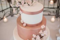 41 pink and blush wedding cake decorated with cherry blossom