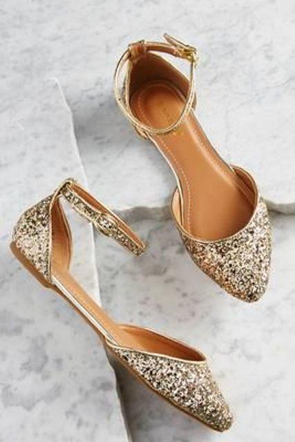 ankle strap glitter flats