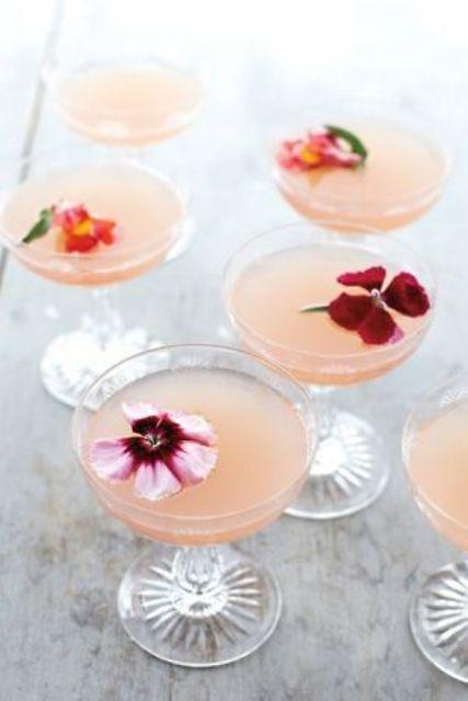 flower garnish for the signature wedding cocktail